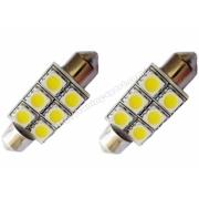 Крушка C10W-12V-сулфидна - светодиод к-т 2бр. - 41мм.